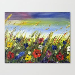 Wild Field Flowers in the Breeze Canvas Print