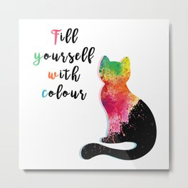 Rainbow Cat Metal Print