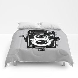 Big Vintage Camera Love - Black on Grey Background Comforters