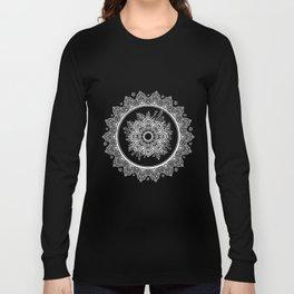 Bohemian Lace Paisley Mandala White on Black Long Sleeve T-shirt