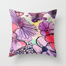 BrightFlorals Throw Pillow