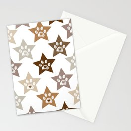 Cute brown stars doodle white paw prints with hearts Stationery Cards