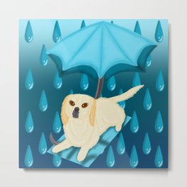 Rain Drop Umbrella Dog Metal Print