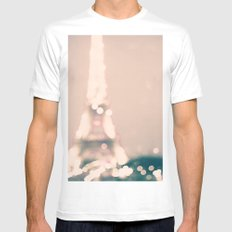 Paris, Eiffel Tower lights on pink MEDIUM White Mens Fitted Tee