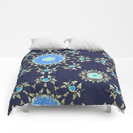 Golden and blue pattern Comforters