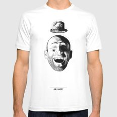 Mr. Happy MEDIUM White Mens Fitted Tee