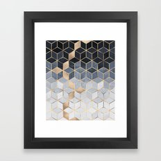 Soft Blue Gradient Cubes Framed Art Print