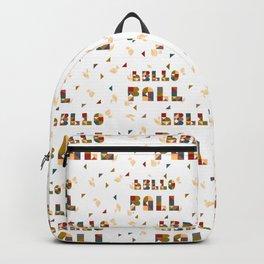 Hello Fall Geometric Boho Typography Art Backpack