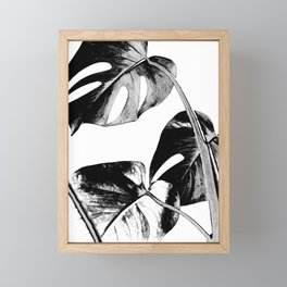 Black monstera leaves watercolor Framed Mini Art Print