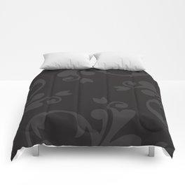 Venetian Damask, Ornaments, Swirls - Gray Black Comforters