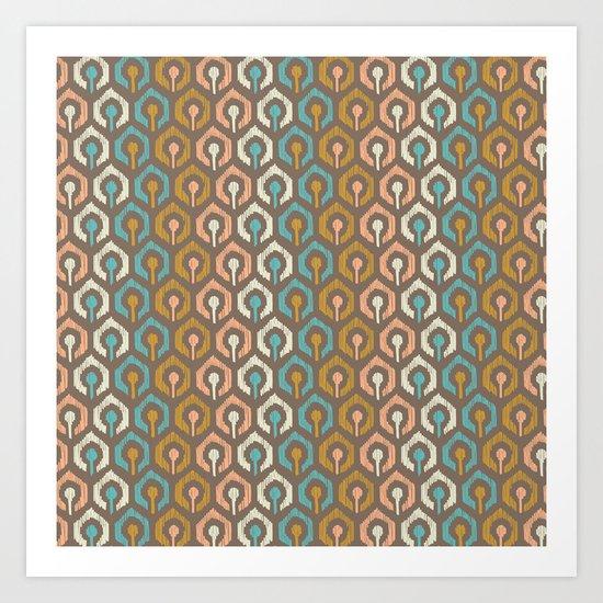 Honeycomb IKAT - Cocoa Art Print