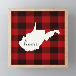 West Virginia is Home - Buffalo Check Plaid Framed Mini Art Print