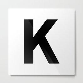 Letter K (Black & White) Metal Print