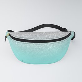 Modern girly faux silver glitter ombre teal ocean color bock Fanny Pack