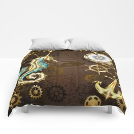 Wooden Background with Mechanical Seahorse ( Steampunk ) Comforters