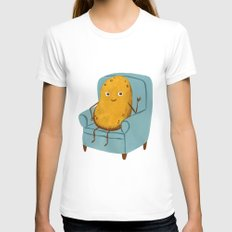 Couch Potato LARGE Womens Fitted Tee White