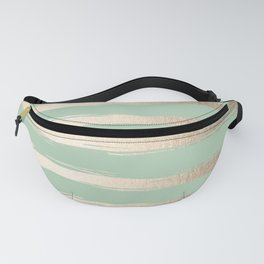 Simply Brushed Stripes White Gold Sands on Pastel Cactus Green Fanny Pack