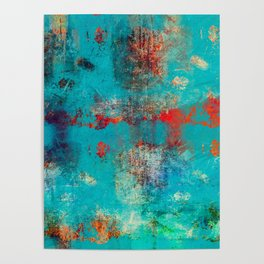 Aztec Turquoise Stone Abstract Texture Design Art Poster