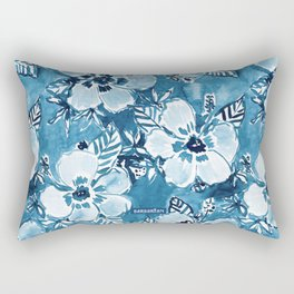 DANK DUDETTE Indigo Hibiscus Watercolor Rectangular Pillow