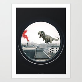 Dinosaur vs Man Art Print