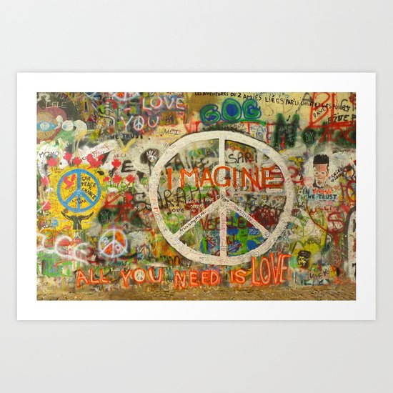 Peace Sign - Love - Graffiti Art Print