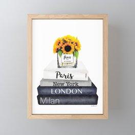 Books, Sunflowers, City's,Cities, travel, Fashion illustration, Amanda Greenwood, watercolor Framed Mini Art Print