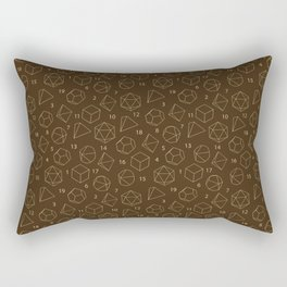 Outline of Dice in Gold + Brown Rectangular Pillow