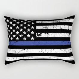 Police Thin Blue Line Flag Rectangular Pillow