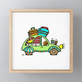 A Roadtrip with My Green Citroen 2CV! Framed Mini Art Print