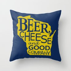 Blue and Gold Beer, Cheese and Good Company Wisconsin Graphic Throw Pillow