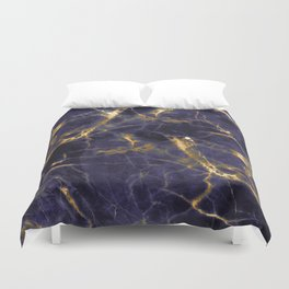 Majesty Purple Marble With 24-Karat Gold Hue Veins Duvet Cover