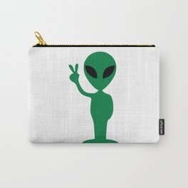 Green Alien Peace Carry-All Pouch