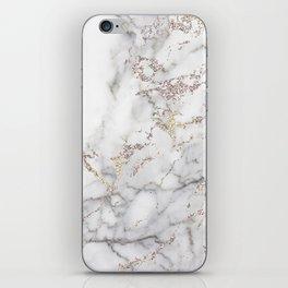Champagne Rose Gold Blush Metallic Glitter Foil On Gray Marble iPhone Skin