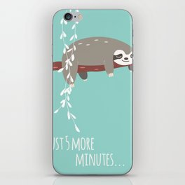 Sloth card - just 5 more minutes iPhone Skin