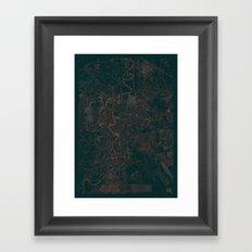 Rome Map Red Framed Art Print
