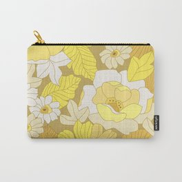 Yellow, Ivory & Brown Retro Flowers Carry-All Pouch