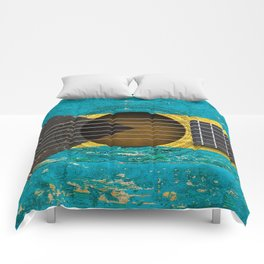 Old Vintage Acoustic Guitar with Bahamas Flag Comforters