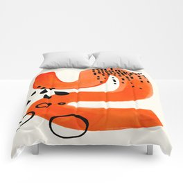 Mid Century Modern abstract Minimalist Fun Colorful Shapes Patterns Orange Brush Stroke Watercolor Comforters