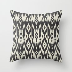 Black & Cream Tribal Ikat Throw Pillow