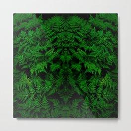 vivid green lady fern plant botanical pattern Metal Print
