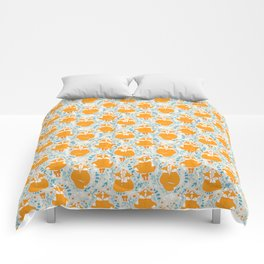 Foxes in love - Grey Comforters