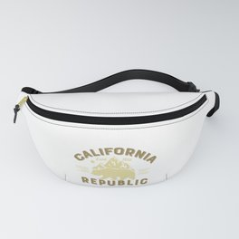 Vintage Retro California Republic Golden State Grizzly Bear Mountains Fanny Pack