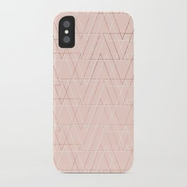 Modern white rose gold abstract geometric triangles on blush pink iPhone Case