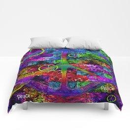 Peace Symbol Rainbow Flag Comforters