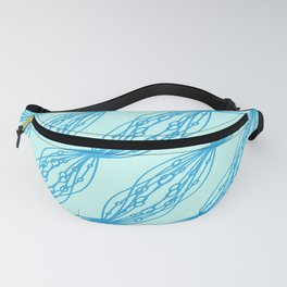 Blue molecular helix on a celestial background. Fanny Pack