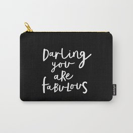 Darling You Are Fabulous black and white contemporary minimalism typography design home wall decor Carry-All Pouch
