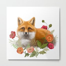Fox in the Poppies Metal Print