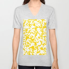 Spots - White and Gold Yellow Unisex V-Neck