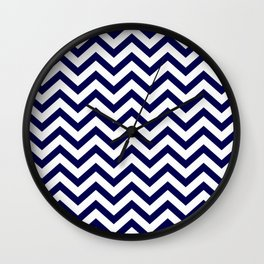 Simple Chevron Pattern - Blue & White - Mix & Match with Simplicity of life Wall Clock