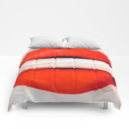 Fetching Coral Lips Comforters